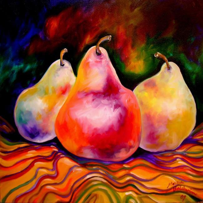 Art: PEARS & STRIPES by Artist Marcia Baldwin