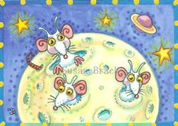 Art: SPACE MICE IN A GREEN CHEESE MOON by Artist Susan Brack