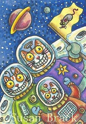 Art: SPACE CAT VACATION by Artist Susan Brack