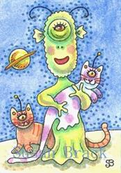 Art: CAT LADY FROM MARS by Artist Susan Brack