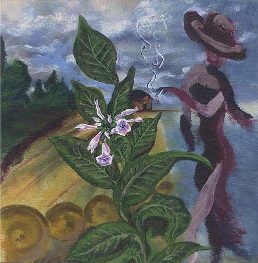 Art: Lady nicotiana by Artist Caroline Lassovszky Baker
