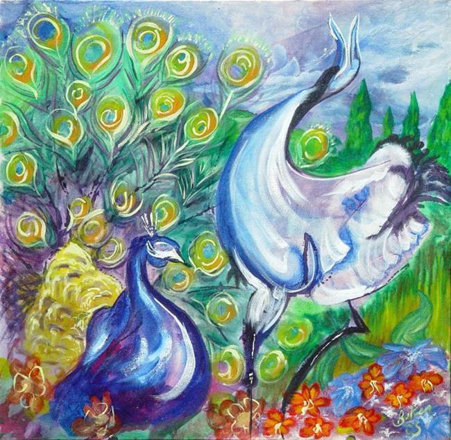 Art: Crane and Peacock by Artist Caroline Lassovszky Baker