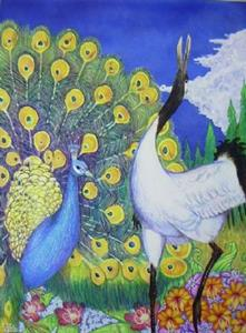Detail Image for art Crane and Peacock