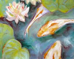 Art: Tranquil lily pond by Artist Deborah Sprague