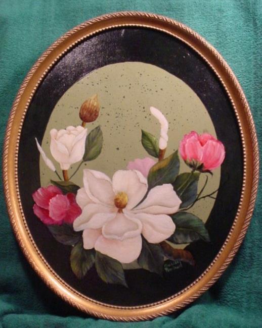 Art: Oval   Magnolias by Artist Barbara Haviland
