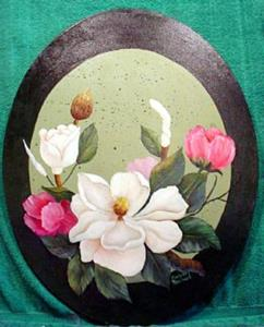 Detail Image for art Oval   Magnolias