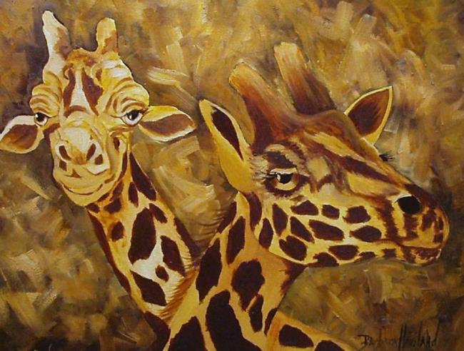 Art: Camouflage Giraffe Pair by Artist Barbara Haviland