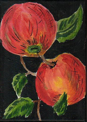 Art: Apples on Black by Artist Nancy Denommee