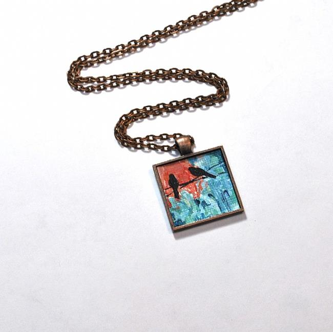 Art: Sunset Birds on a Wire ~ Original Wearable Art ~ Sold by Artist Dana Marie