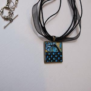Detail Image for art Blue & Black Checker Tree ~ Wearable Art