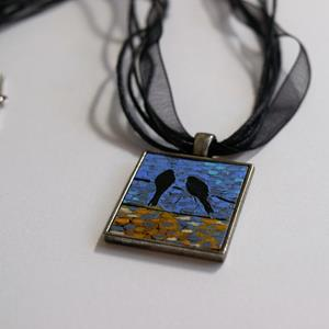 Detail Image for art Reflecting Birds on a Wire ~ Dana Marie Wearable Art
