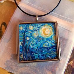Art: Rendition of Starry Night ~ Glass Locket Pendant & Necklace ~ SOLD by Artist Dana Marie
