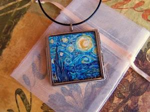 Detail Image for art Rendition of Starry Night ~ Glass Locket Pendant & Necklace ~ SOLD