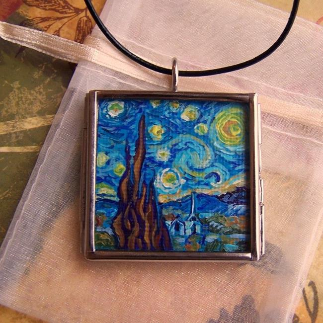Art: Rendition of Starry Night 2 ~ Glass Locket Pendant & Necklace ~ SOLD by Artist Dana Marie