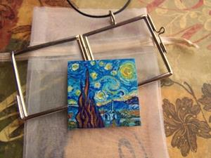 Detail Image for art Rendition of Starry Night 2 ~ Glass Locket Pendant & Necklace ~ SOLD