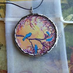 Art: Apple Blossom Songbirds ~ Glass Locket Pendant & Leather Necklace ~ Sold by Artist Dana Marie