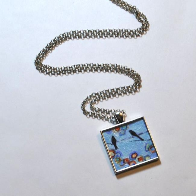 Art: Abstract Blue Birds on a Wire ~ Dana Marie Wearable Art ~ Sold by Artist Dana Marie