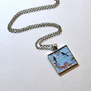 Detail Image for art Abstract Blue Birds on a Wire ~ Dana Marie Wearable Art ~ Sold