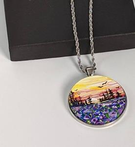 Detail Image for art Handpainted Pendant with Necklace and Gift Box