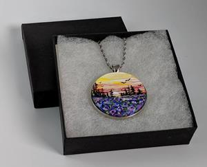 Detail Image for art Handpainted Pendant with Necklace and Gift Box (Gifted)