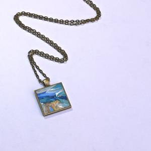 Detail Image for art Blue and Yellow Landscape Abstract~ Original Wearable Art