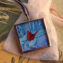Art: Winter Wonderland ~ Glass Locket ~ SOLD by Artist Dana Marie