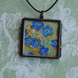 Art: Forget Me Not ~ Glass Locket Pendant & Necklace by Artist Dana Marie