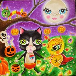 Art: Halloween in Wibbley by Artist Jordana
