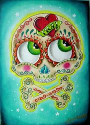 Art: Tattooed sugar skull by Artist Jordana
