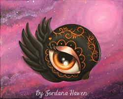 Art: Day of the dead baby crow by Artist Jordana