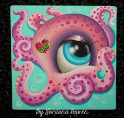 Art: Cute octopus painting by Artist Jordana