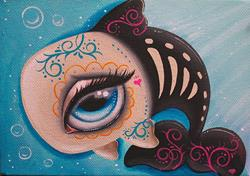 Art: Day of the dead orca by Artist Jordana Hawen