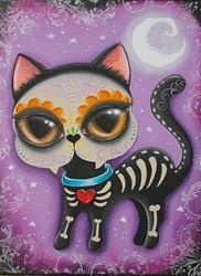 Art: Day of the dead kitty by Artist Jordana Hawen