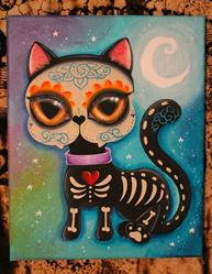 Art: Day of the dead kitty cat by Artist Jordana Hawen