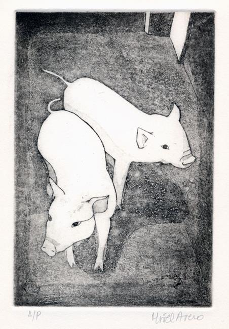 Art: Two Little Pigs by Artist Muriel Areno