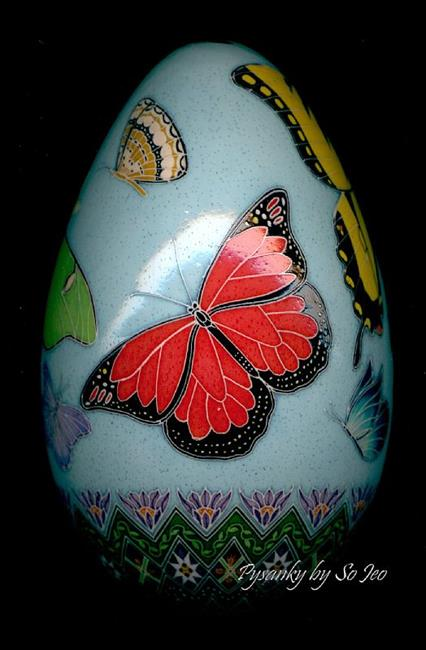 Art: Butterfly Turkey Pysanka Monarch a.jpg by Artist So Jeo LeBlond