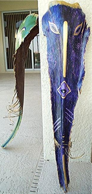 Art: Purple Palm Frond Mask by Artist Ulrike 'Ricky' Martin