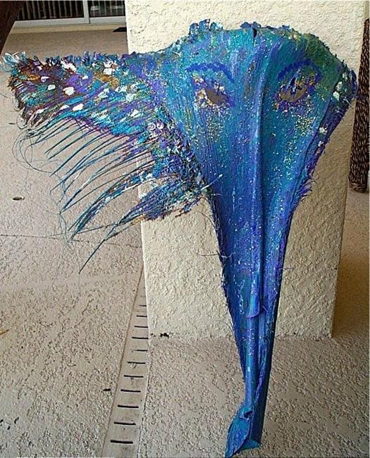 Art: Sparkly Blue Palm Frond Mask by Artist Ulrike 'Ricky' Martin