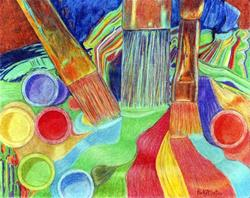 Art: Brushes and Paint ( available in my ebay store) by Artist Ulrike 'Ricky' Martin