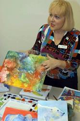 Art: Watercolor on Canvas Workshop Demo 2009 by Artist Ulrike 'Ricky' Martin