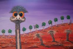 Art: Dizzy Emu Collection What The (SOLD) $280.00 by Artist Barry Hunt