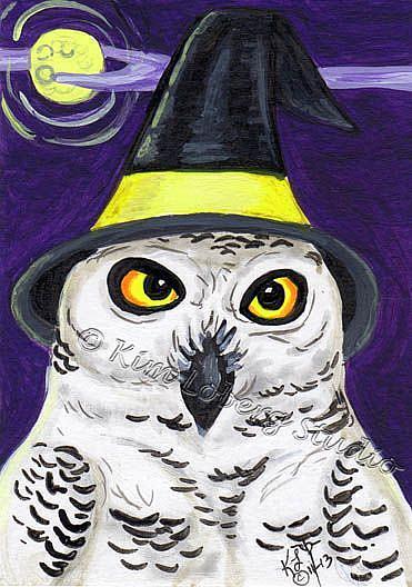 Art: Snowy Owl Witch by Artist Kim Loberg