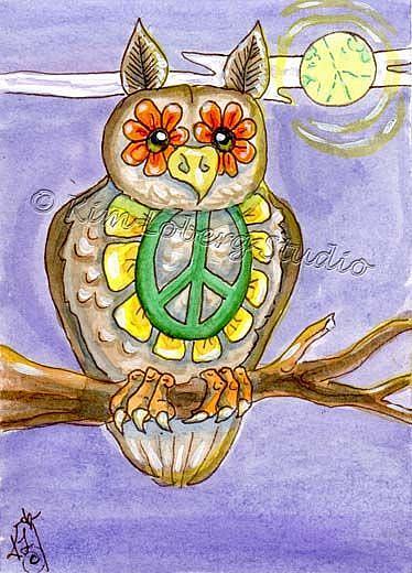 Art: The Peace Hippie Owl by Artist Kim Loberg