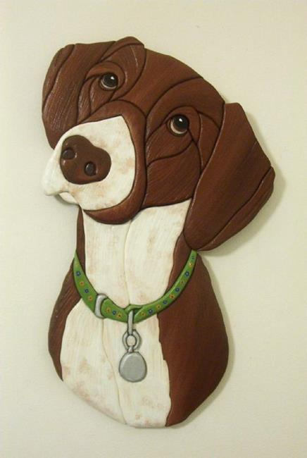 Art: GERMAN SHORTHAIRED POINTER DOG ORIGINAL INTARSIA ART by Artist Gina Stern