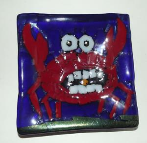 Detail Image for art Crab Fused Glass Plate
