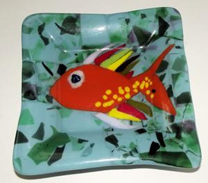 Detail Image for art Gold Fish Fused Art Glass Plate