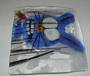 Detail Image for art Rabbit Eating Carrot Fused Glass Art Plate