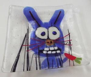 Detail Image for art Rabbit Eating Carrot Fused Glass Art Plate