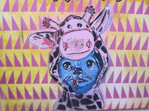 Detail Image for art Chihuahua in Giraffe costume Original Pop Graffiti Art