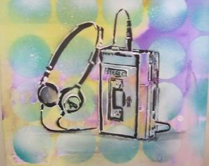 Detail Image for art 80's Walkman Retro Original Graffiti Spray Paint Pop Art